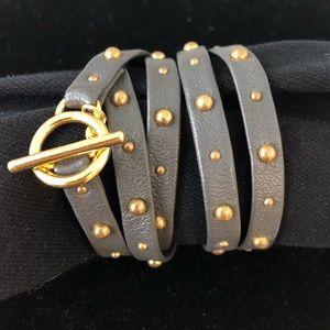 Gorjana 18K and grey leather 5-wrap bracelet